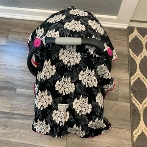 4/$25 Carseat Canopy Girls Black Floral